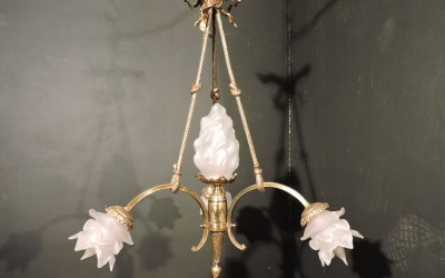 French Bronze Chandelier With bow