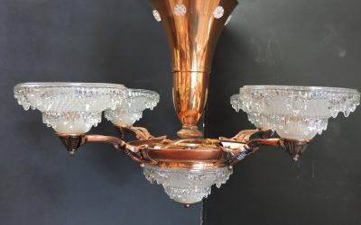 Art Deco Ezna Icicle – like Chandelier Copper – 1930's France