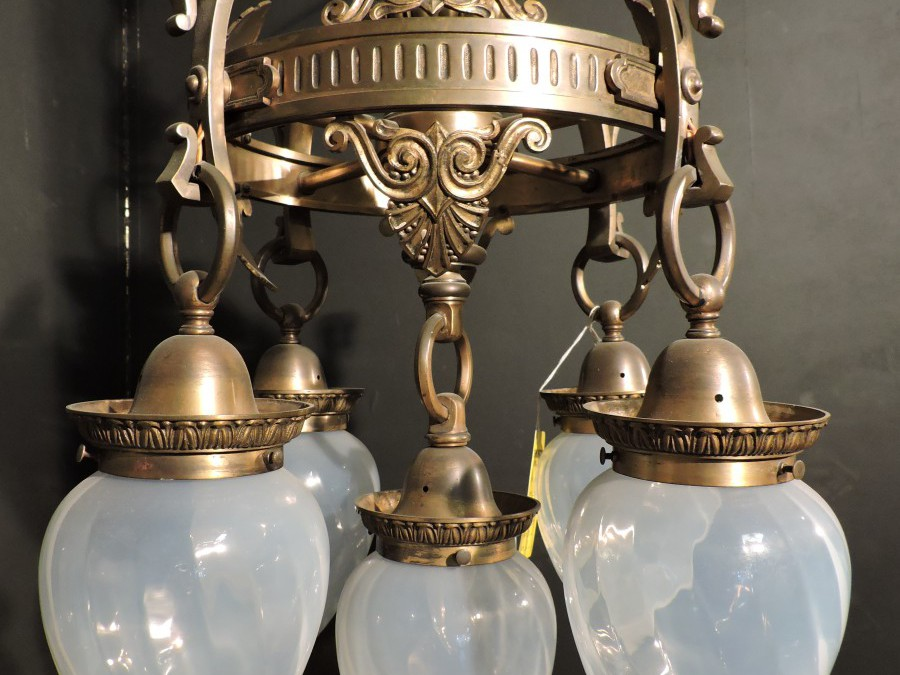 Bronze Chandelier with Torpedo Globes