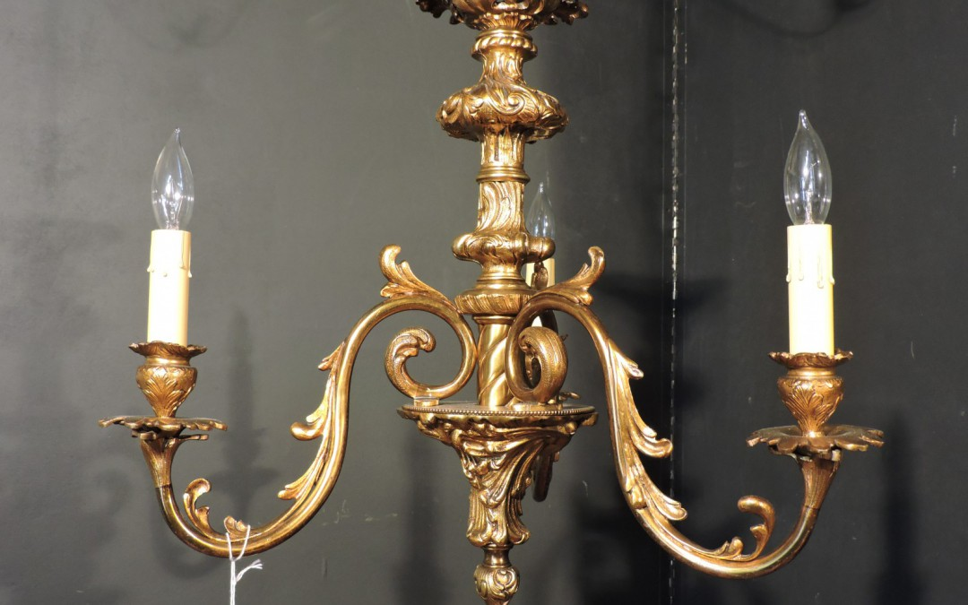Petite French Bronze Chandelier