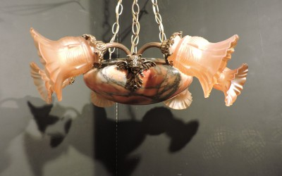 Bronze And Alabaster Chandelier with Cupids French