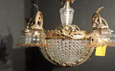 French Crystal Basket With Lions Heads Bronze Chandelier