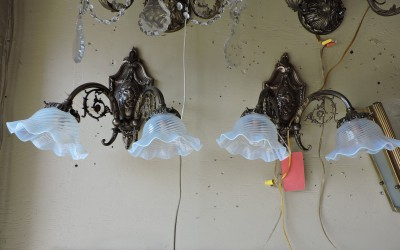 Pair of French Bronze Sconces With Ladys Face