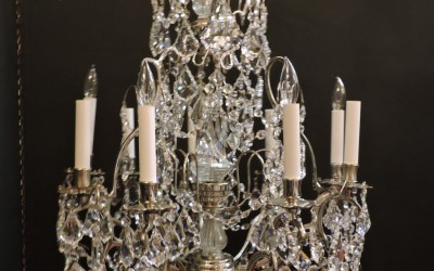 French Silvered Crystal Chandelier