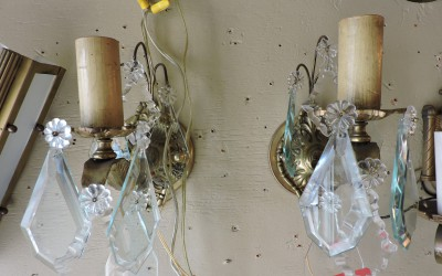 Pair Of Crystal And Brass Scoces