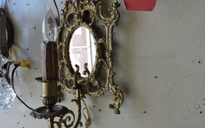 Pair Of Mirrored French Bronze Sconces