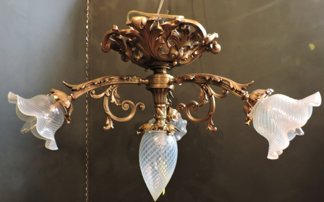 1920's French Bronze Flush Mount Chandelier