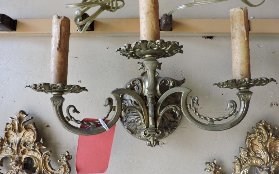 Pair Of Three Light Bronze Sconces