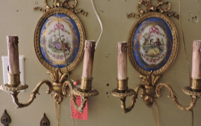Pair Of French Porcelin And Bronze Sconces