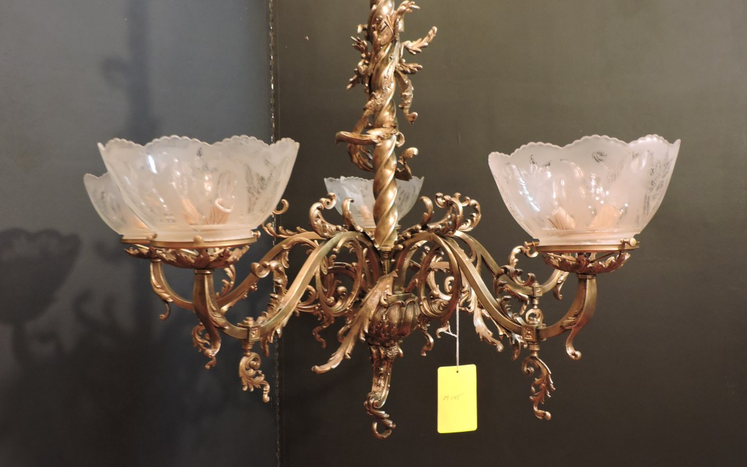 1880's French Gas Chandelier