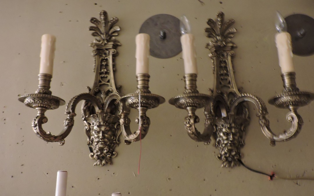 Pair Of Large Bronze Sconces With Faces