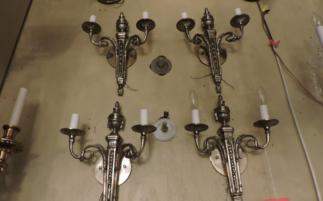 Set Of Four Silver French Sconces