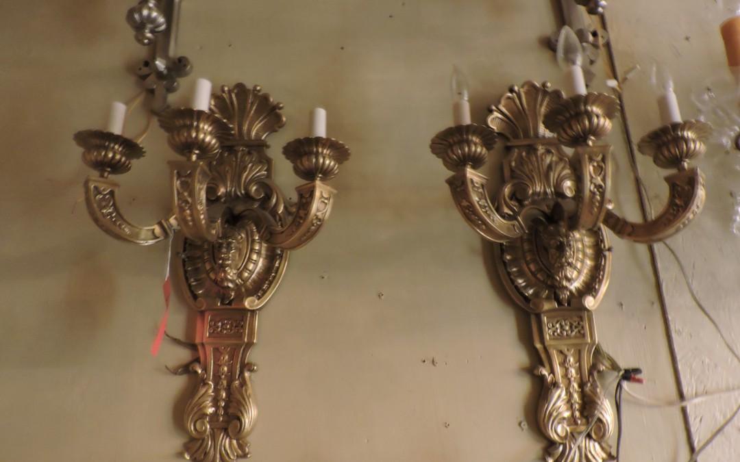 Large Bronze Sconces With Mans Face