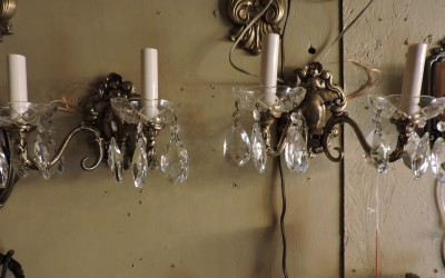 Pair Of Brass And Crystal European Sconces