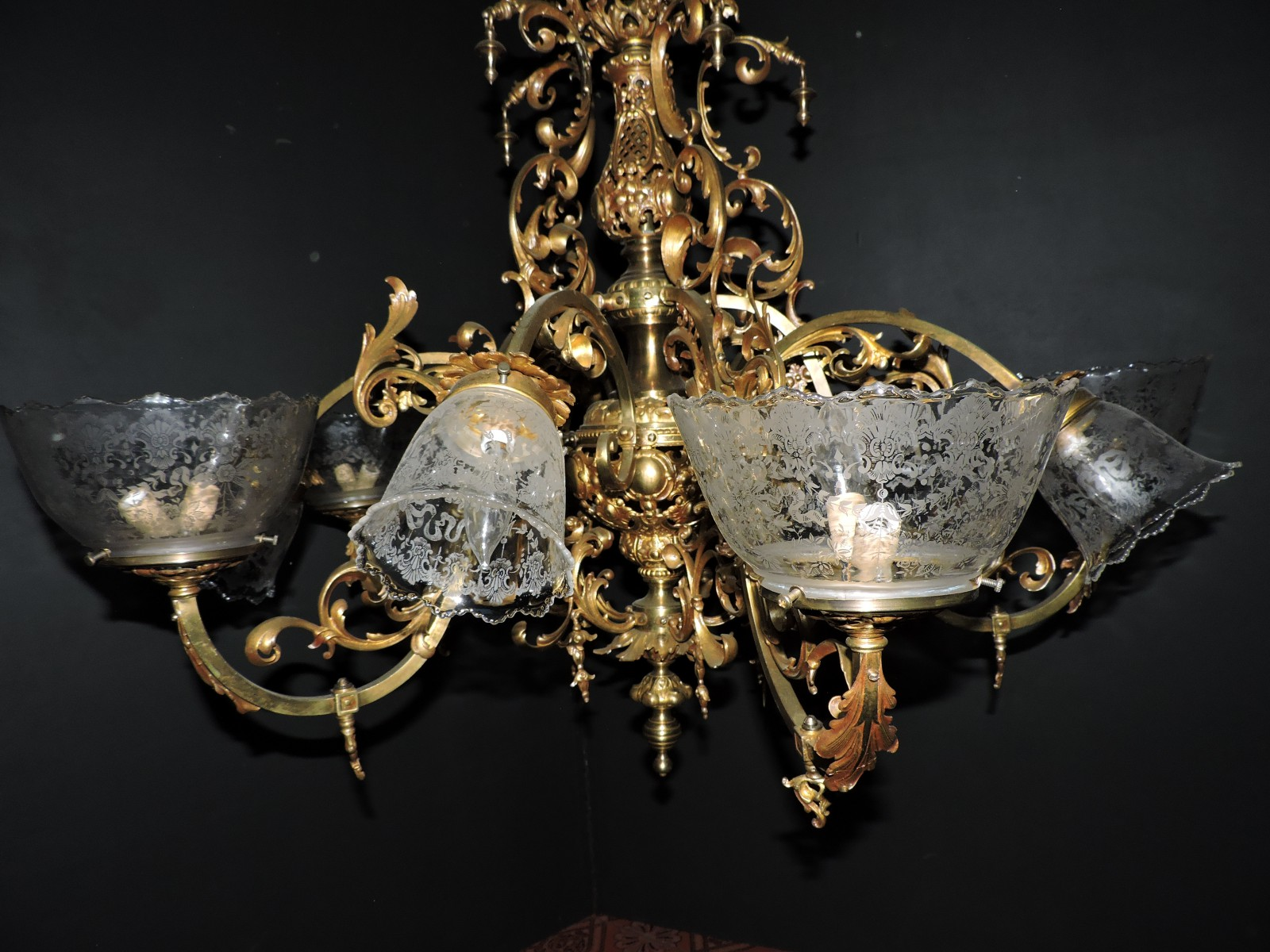 1880s french gas light chandelier completely rewired from gas fixture french 1880s arubaitofo Images