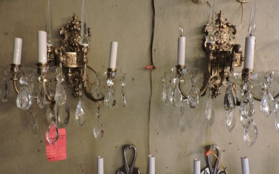 Pair of Large Crystal And Bronze Sconces