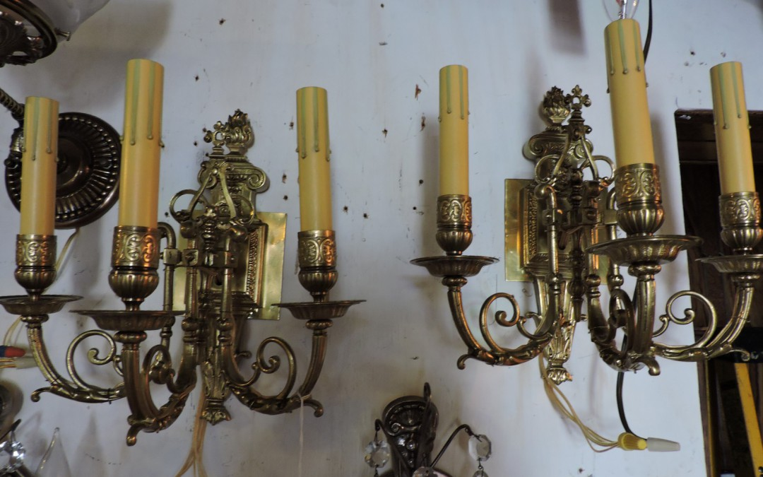 Pair Of Three Light Bronze Sconces