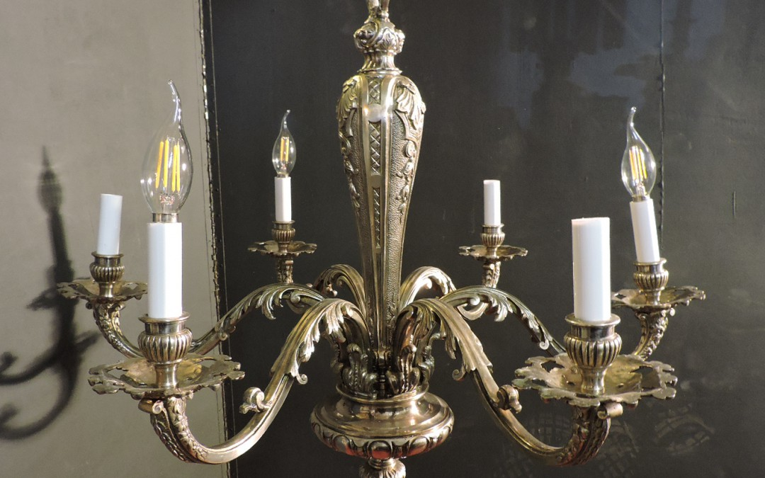 French Six Light Chandelier Nickeled Bronze  – 1920's France