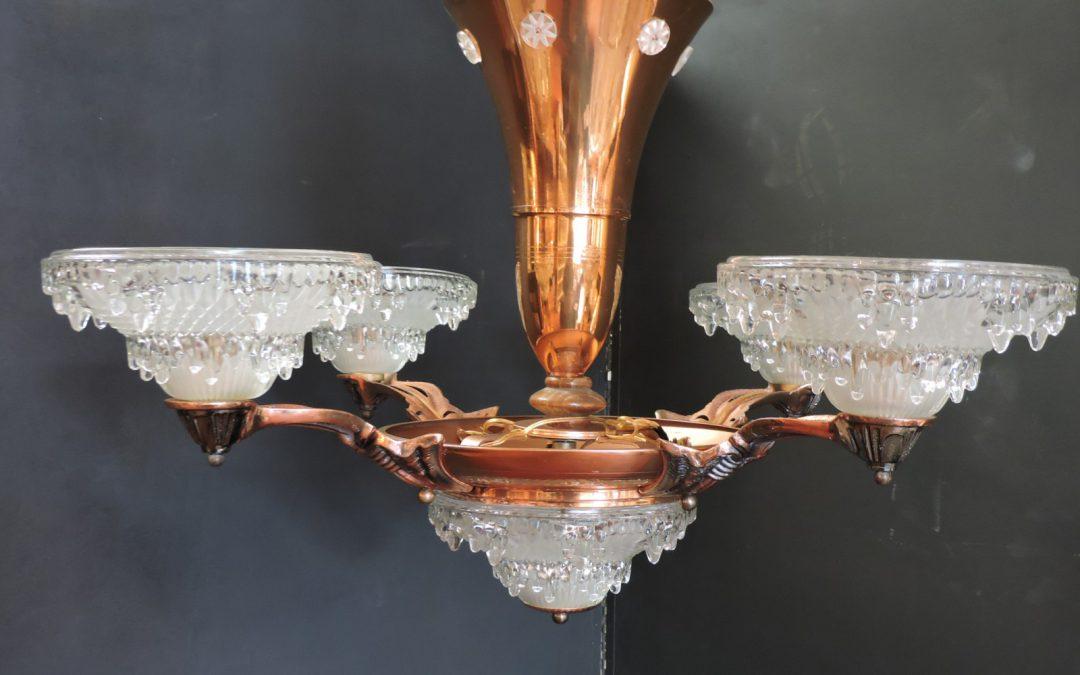 Art Deco Ezna Icicle – like Chandelier Copper – 1930's France