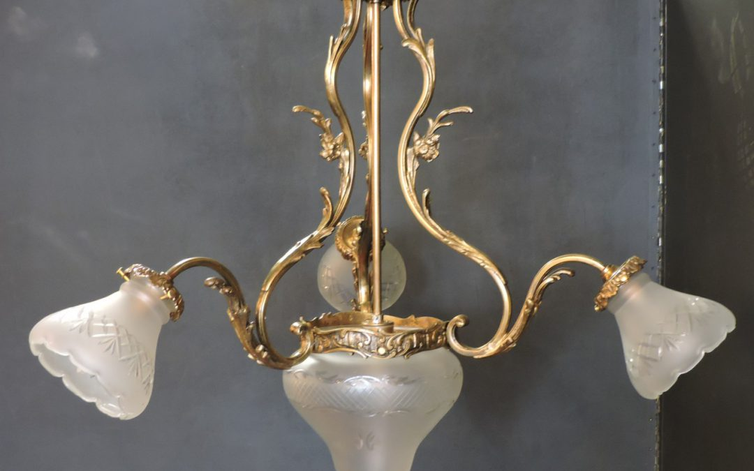 Country French Chandelier Bronze – 1930's France